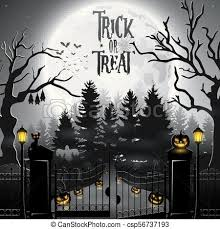 Vector Illustration Of Halloween Background With Spooky Graveyard