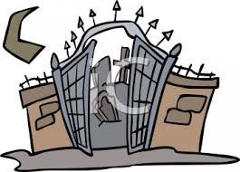Halloween Graphic Design Element Of The Gates To A Graveyard Royalty Free Clipart Picture