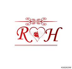 rh love initial with red heart and rose