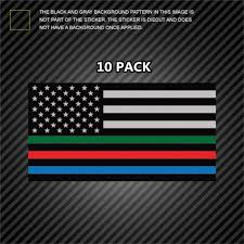 10 Pack Thin Blue Line Sticker Usa Flag With Red Blue Green Stripe Sticker American Flag Wish