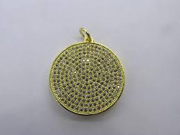 6pcs micro pave diamond disc pendant