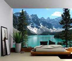 Banff Canada Rocky Mountain Lake Landscape Self Adhesive Vinyl Wallpaper Peel Stick Fabric Wall Decal Picture Sensations