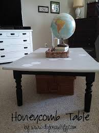 honeycomb pattern table makeover diy