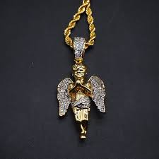hip hop micro angel pendant necklace