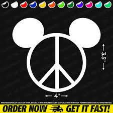 Disney Mickey Head Peace Sign 4 X3 5 Vinyl Decal Window Sticker Ebay