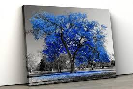 Large Blue Tree Black White Home Decor Nature Framed Canvas Etsy