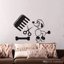 Grooming Salon Wall Stickers Animals Dog Wall Decals Vinyl Removable Pet Shop Wall Decorative Stickers Decal Decor Removable Wall Art Decal For Wall From Moderndecal 5 91 Dhgate Com