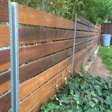 Back View Of The Fence We Used Steel Posts Yelp Backyard Fences Fence Landscaping Modern Fence