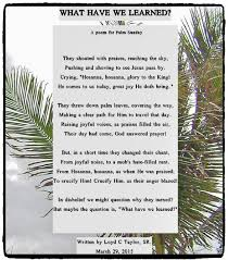 palm sunday poem by loyd c taylor