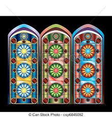 stained glass windows in three color