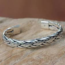 braided sterling silver cuff bracelet