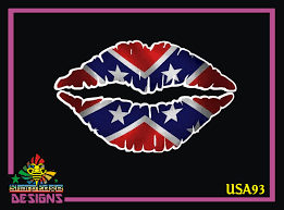 Confederate Flag Lips Printed Vinyl Decal