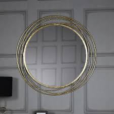 extra large round antique gold mirror