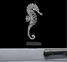 Amazon Com Js Artworks Tribal Seahorse Vinyl Decal Sticker Silver Automotive