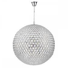 globe ceiling pendant in chrome crystal