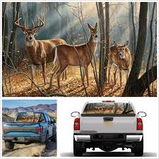 Suv Truck Rear Window Decal Forest Animals Deer Family Graphics Sticker 135x36cm