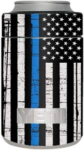 Amazon Com Skin Decal Vinyl Wrap For Yeti Colster Can Stickers Skins Cover Thin Blue Line Blue Lives Matter Subdued Distressed American Flag U S Police Kitchen Dining