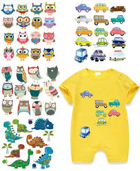 Amazon Com Baby Iron On Stickers 4 Set Heat Transfer Patches With Dinosaur Car Bird Cartoon Appliques Waterproof Diy For T Shirt Jackets Bags Baby Clothes