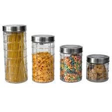 4 piece clear glass canister set with