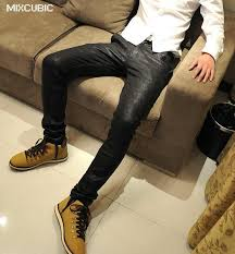 mens coating leather pants slim fit