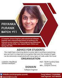 Added by @lnmiit.alumni.association Instagram post Hello all! This time we  have with us Priyanka Puranik, a Computer Science engineer currently  working as a Software Developer at Blackrock. Kindly connect to her to