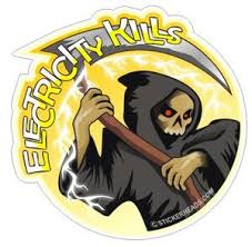Electricity Kills Grim Reaper Ibew Electrical Electric Sticker Stickerheads Stickers