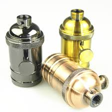 bronze edison lamp socket turn knob
