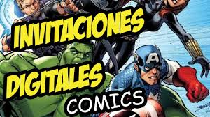 Tarjetas Invitacion Infantil Digital Tipo Comics The Avengers