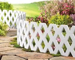 white lattice edging garden patio