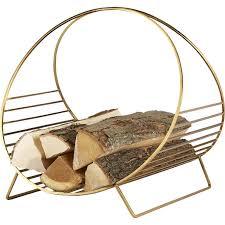 round brass iron log holder