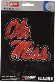 Ole Miss Rebels 3d Die Cut Decal New 4 X 4 Window Or Car Flat Decal Hub City Sports