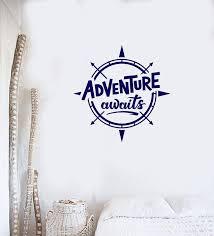 Vinyl Wall Decal Adventure Awaits Compass Quote Inspirational Art Home Wallstickers4you