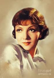 Claudette Colbert, Vintage Actress Painting by Esoterica Art Agency