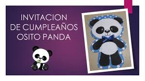 Invitacion De Cumpleanos Osito Panda Youtube