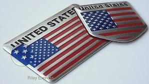 Bundle Pack 3d Aluminum American Flag Sticker Emblem Decal