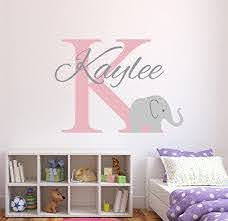 Amazon Com Wall Decal Letters Personalized Elephant Name Wall Decal For Girls Baby Girl Decor Nursery Wall Decals Elephant Decor 26wh For Living Room Kitchen Dining