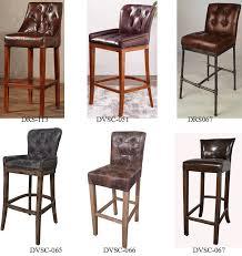 oak wood antique leather bar stool