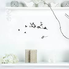 mirror decal black bird tree branch
