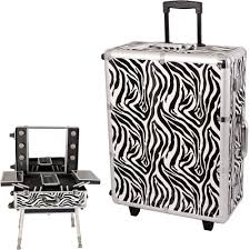 rolling studio makeup case with lights