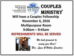 Message from Bro. Lynn & Sis. Hilda Sanders - World Won For Christ Family  Life Ministries   Facebook