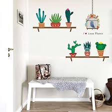 Amazon Com Bibitime Flower Birdcage Wall Decal Birds Sayings I Love Plants Quotes Potted Cactus Vinyl Stickers For Dining Room Kitchen Nursery Bedroom Children Baby Kids Room Decor Home Art Pvc Mural Home