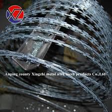 China Cross Double Type Coil Razor Barbed Wire With Clips China Galvanized Razor Barbed Wire Concertina Razor Wire