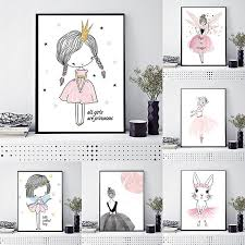 Fashion Girl Nordic Style Cartoon Canvas Poster Wall Art Prints Kids Room Home Decor Modern Wall Posters Wish