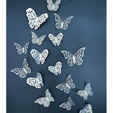 Amazon Com Eoorau 36pcs Silver Butterfly Wall Decals 3d Butterflies Wall Stickers Removable Mural Decor Wall Stickers Decals Wall Decor Home Decor Kids Room Bedroom Decor Living Room Decor Baby