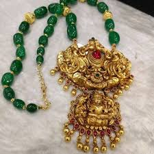 temple pendant with green color beads