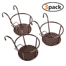 Kingbuy Iron Art Hanging Baskets Flower Pot Holder Over The Rail Metal Fence Planters Assemble Hangers Great For Patio Balcony Porch Or Fence Pack Of 3 Brown Garden Outdoor Cjp Org In