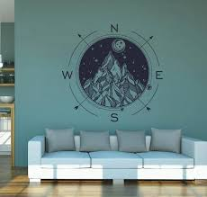 Compass Wall Decals Sticker Adik2980 Etsy In 2020 Moon Decor Wall Decal Sticker Mountain Decal