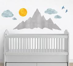 Mountain Wall Decals Mountainscape Watercolor Decals Eco Wall Decals