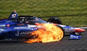 WATCH: James Davison's tire catches fires, explodes during Indy 500