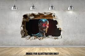 3d Terminator Cyborg Wall Sticker Multi Sizes Decal Bedroom Etsy
